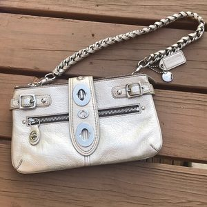 Coach Platinum Legacy Leather Bridget Clutch Bag